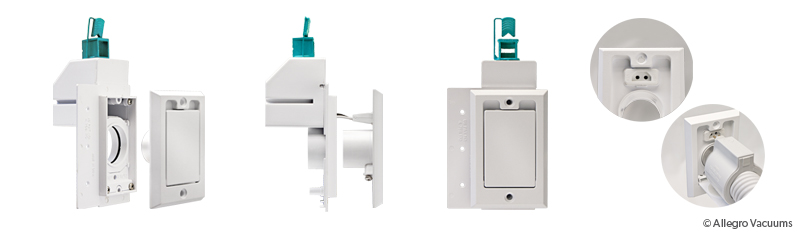 Central Vacuum Electrified Wall Inlet Valve White